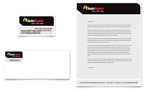 Auto Repair Business Card & Letterhead Template