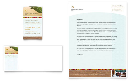 Health & Beauty Spa Business Card & Letterhead Template