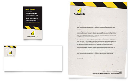 Industrial & Commercial Construction Business Card & Letterhead Template