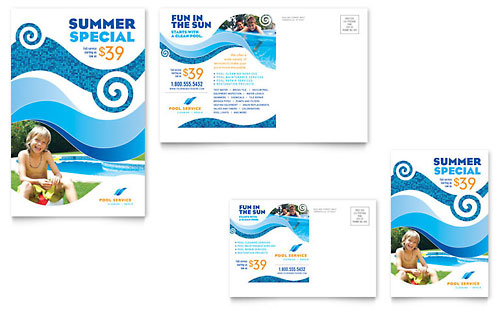 Swimming Pool Cleaning Service Postcard Template