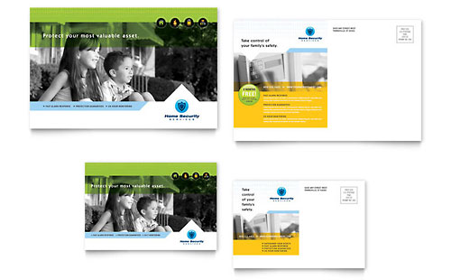 Home Security Systems Postcard Template