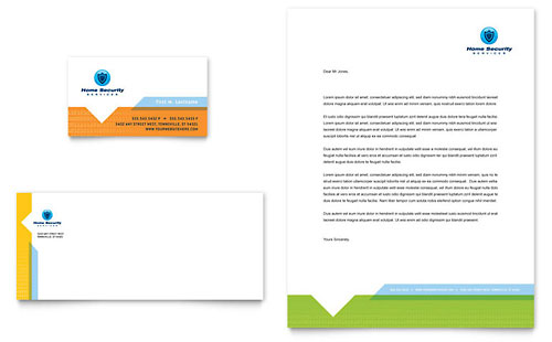 Home Security Systems Business Card & Letterhead Template