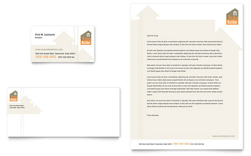 Home Building Carpentry Business Card & Letterhead Template