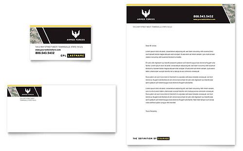 Military Business Card & Letterhead Template