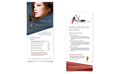 Hair Stylist & Salon Rack Card Template