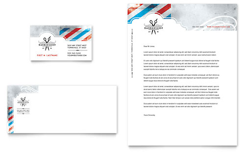 Barbershop Business Card & Letterhead Template