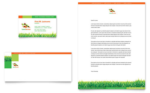 Lawn Maintenance Business Card & Letterhead Template