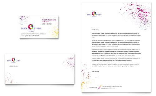 Dance Studio Business Card & Letterhead Template