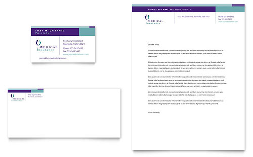 Medical Insurance Company Business Card & Letterhead Template