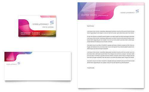 Pharmacy School Business Card & Letterhead Template