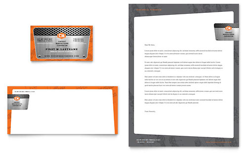Manufacturing Engineering Business Card & Letterhead Template