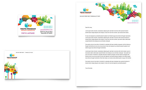 Youth Program Business Card & Letterhead Template