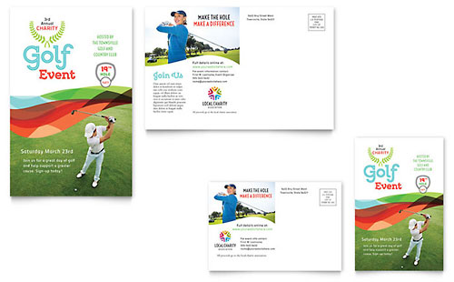 Charity Golf Event Postcard Template