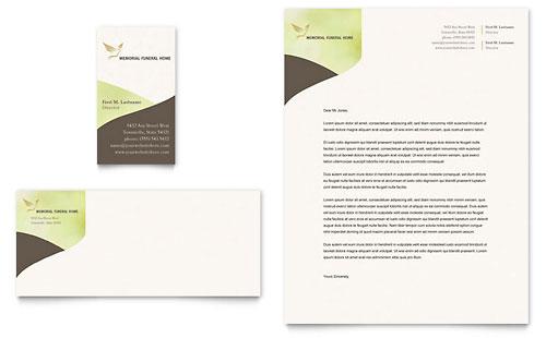Memorial & Funeral Program Business Card & Letterhead Template