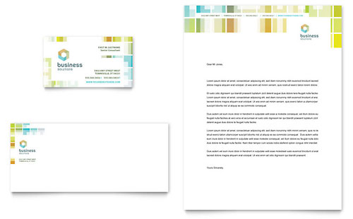 Business Solutions Consultant Business Card & Letterhead Template