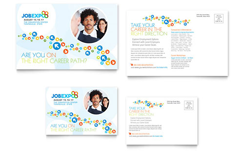Job Expo & Career Fair Postcard Template
