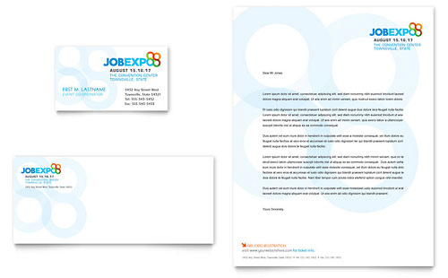 Job Expo & Career Fair Business Card & Letterhead Template