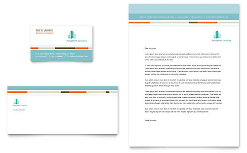 Management Consulting Business Card & Letterhead Template