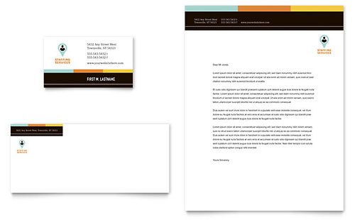 Recruiter Business Card & Letterhead Template