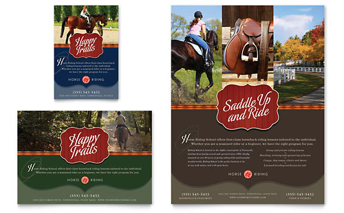 Horse Riding Stables & Camp Flyer & Ad Template