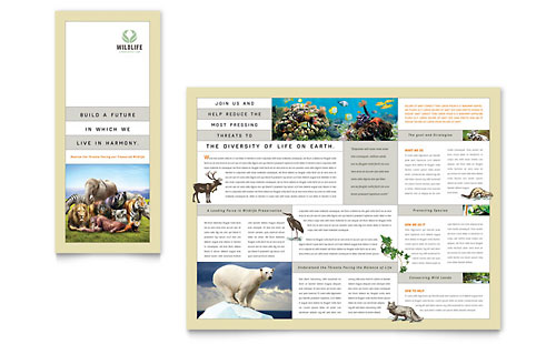 Nature & Wildlife Conservation Tri Fold Brochure Template