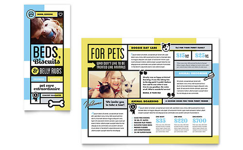 Pet Boarding Print Design Brochure Template