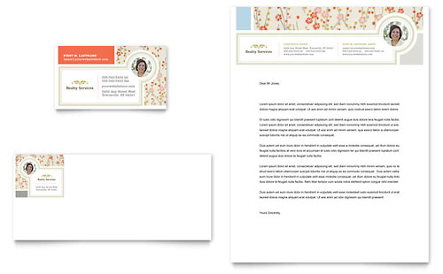 Real Estate Home for Sale Business Card & Letterhead Template