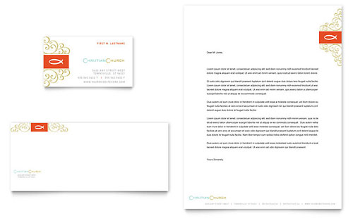 Christian Church Religious - Business Card & Letterhead Template