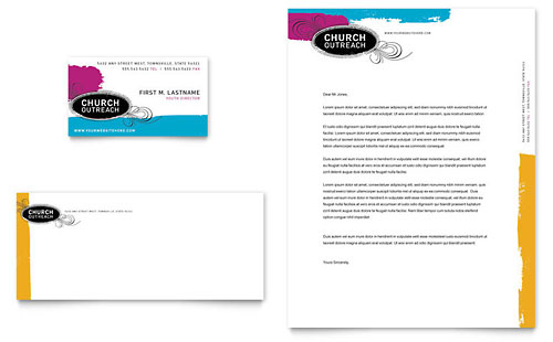 Church Outreach Ministries Business Card & Letterhead Template