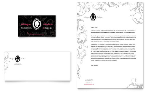 Formal Fashions & Jewelry Boutique Business Card & Letterhead Template