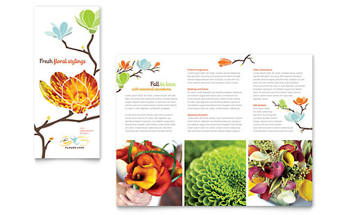 Flower Shop Tri Fold Brochure Template
