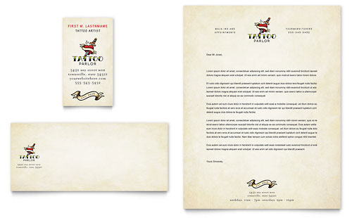 Body Art & Tattoo Artist Business Card & Letterhead Template