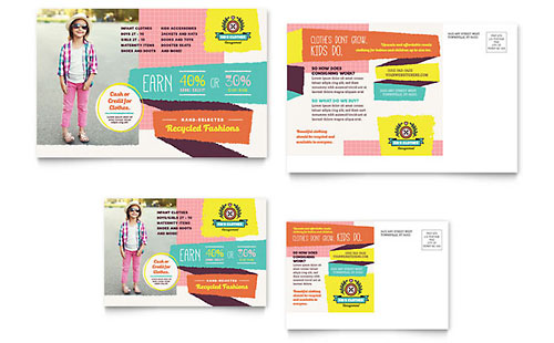 Kids Consignment Shop Postcard Template