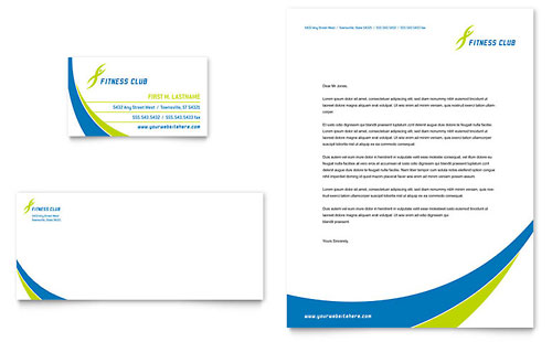 Sports & Health Club Business Card & Letterhead Template