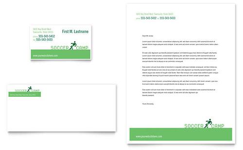 Soccer Sports Camp Business Card & Letterhead Template