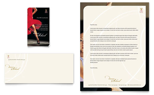 Dance School Business Card & Letterhead Template