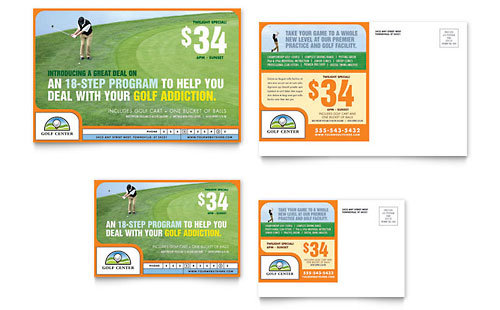 Golf Instructor & Course Postcard Template