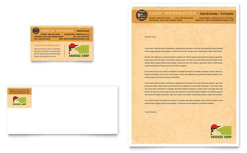 Baseball Sports Camp Business Card & Letterhead Template