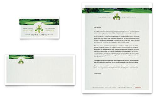 Golf Course & Instruction Business Card & Letterhead Template