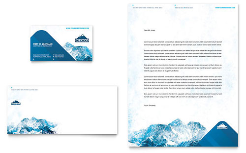 Ski & Snowboard Instructor Business Card & Letterhead Template