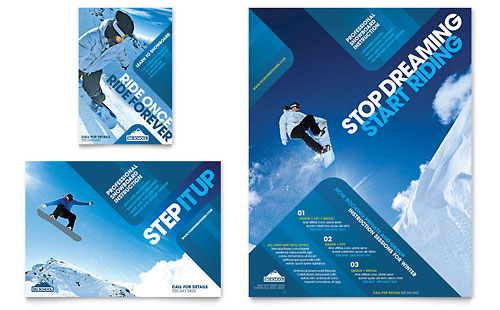 Ski & Snowboard Instructor - Flyer & Ad Template
