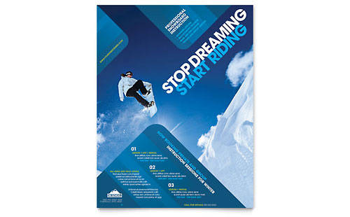Ski & Snowboard Instructor Flyer Template