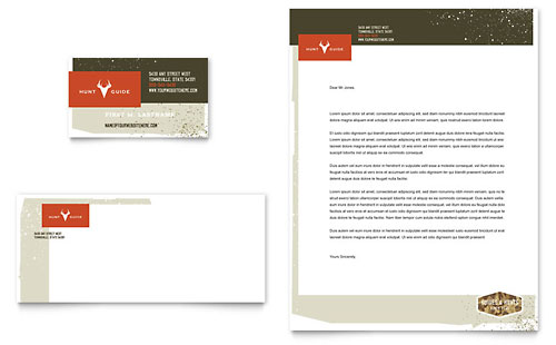 Hunting Guide Business Card & Letterhead Template