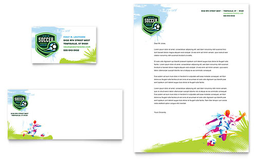 Youth Soccer Business Card & Letterhead Template