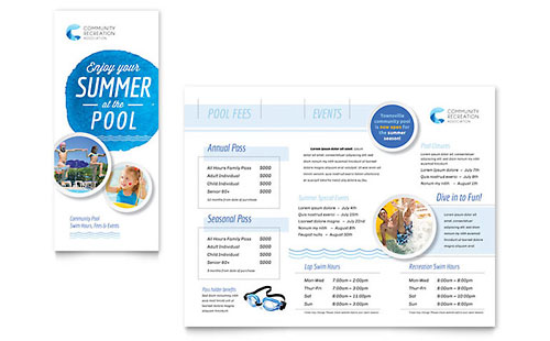 Kids art camp brochure template design for Pool design templates