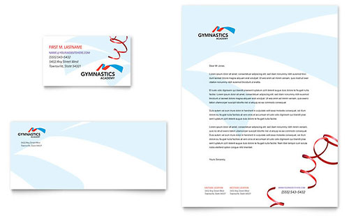 Gymnastics Academy Business Card & Letterhead Template