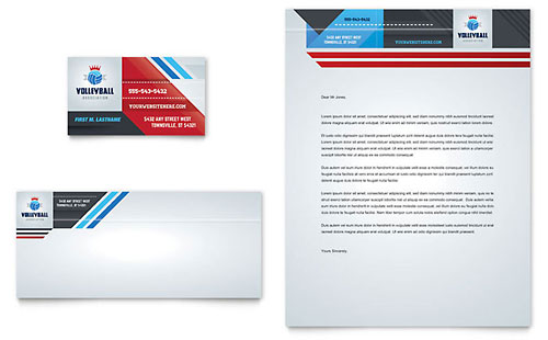 Volleyball Camp Business Card & Letterhead Template