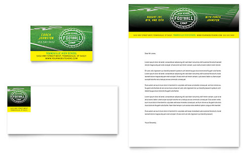 Football Training Business Card & Letterhead Template