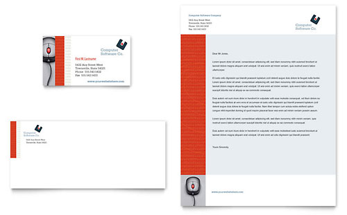 Computer Software Company Business Card & Letterhead Template