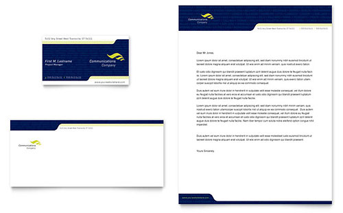 Global Communications Company Business Card & Letterhead Template